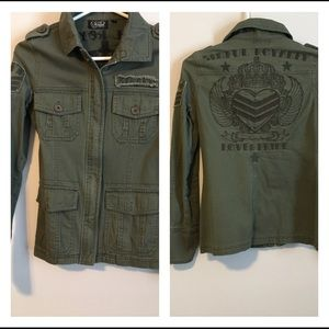 Sinful royalty utility style green jacket